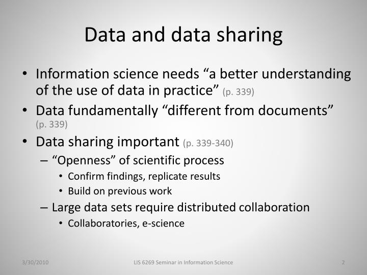 Data and data sharing