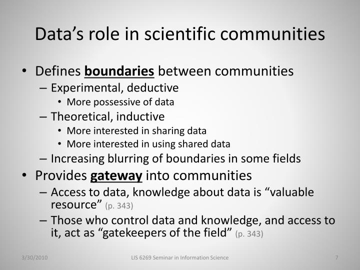 Data's role in scientific communities