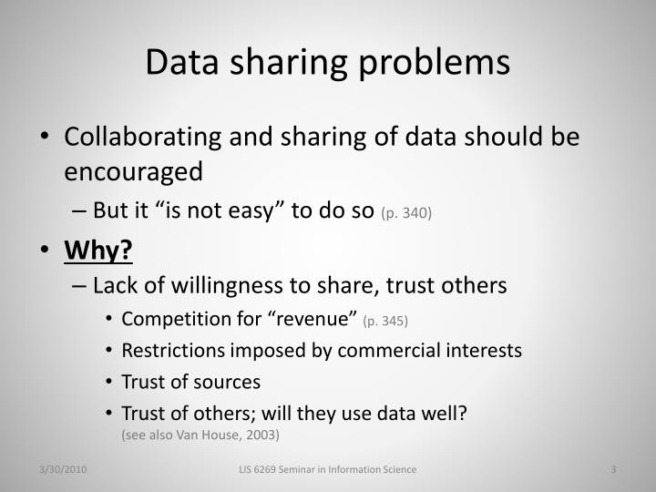 Data sharing problems