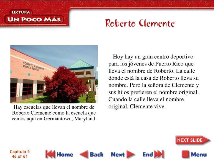 Hoy hay un gran centro deportivo para los jóvenes de Puerto Rico que lleva el nombre de Roberto. La calle