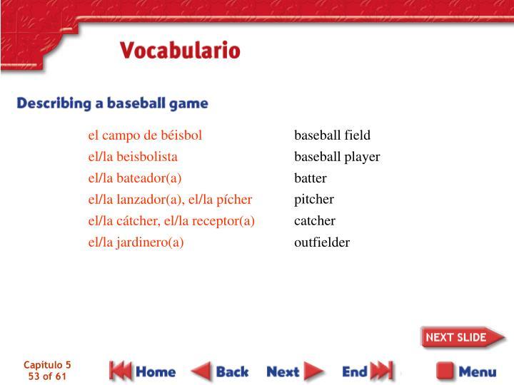 el campo de béisbol                   el/la beisbolista