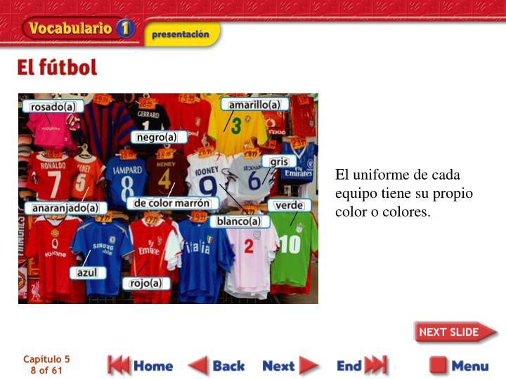 El uniforme de cada equipo tiene su propio color o colores.