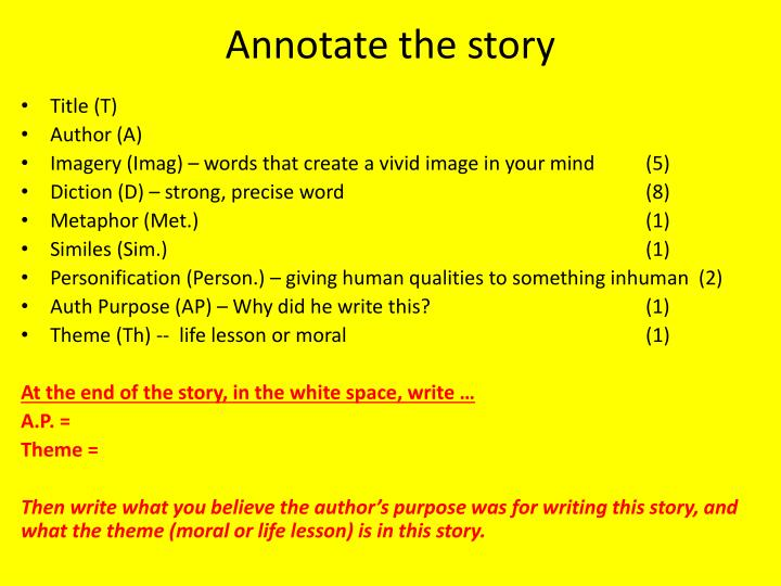 Annotate the story