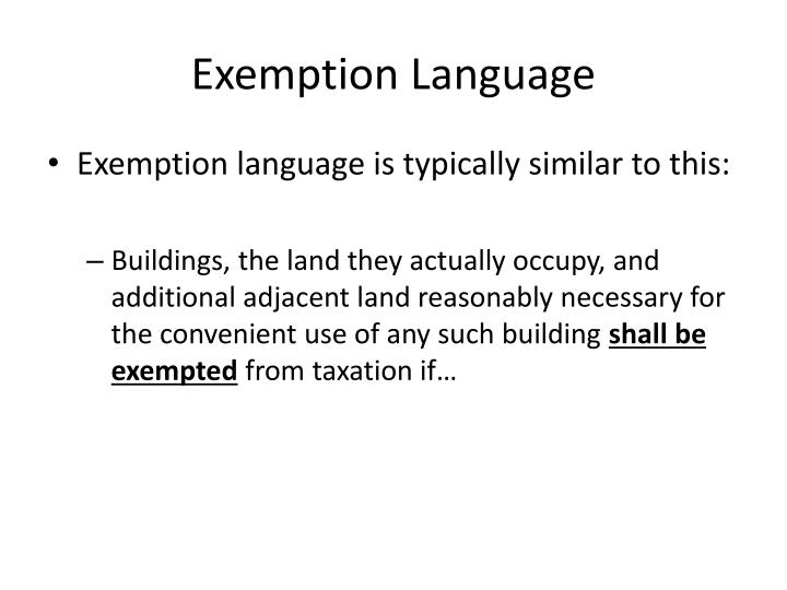 Exemption Language