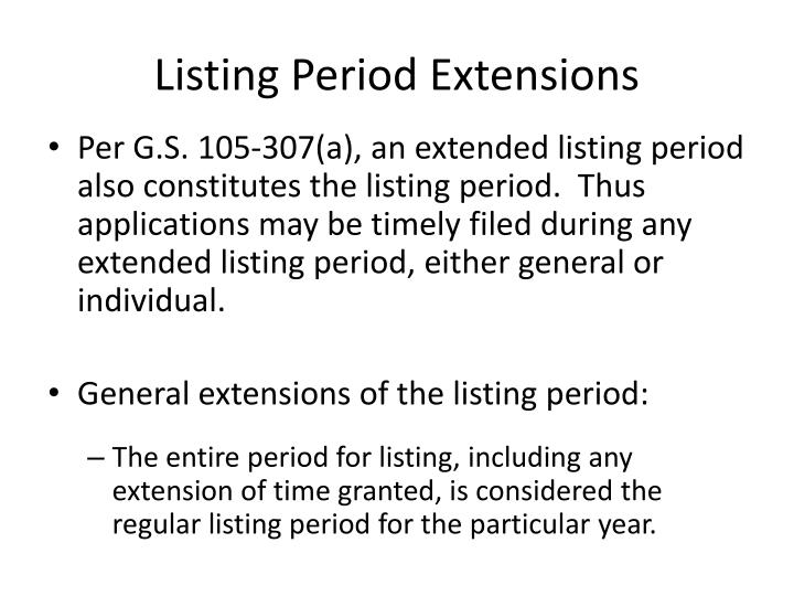 Listing Period Extensions