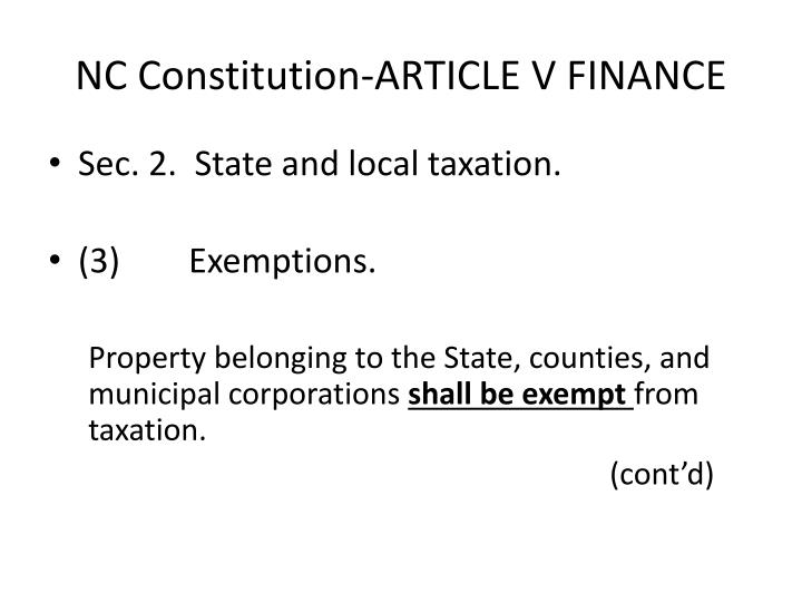 NC Constitution-ARTICLE V FINANCE