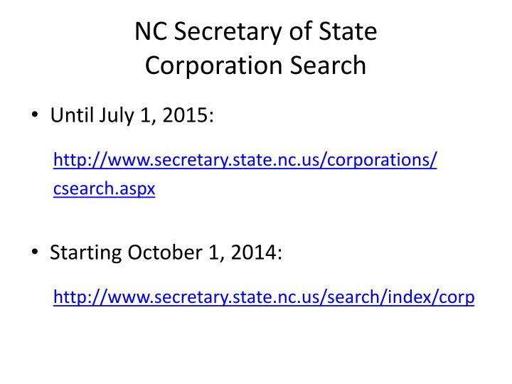NC Secretary of State