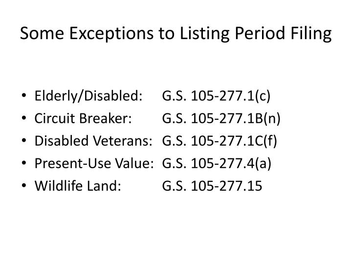Some Exceptions to Listing Period Filing