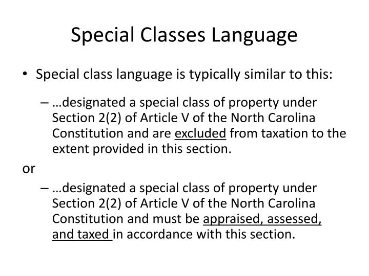 Special Classes Language