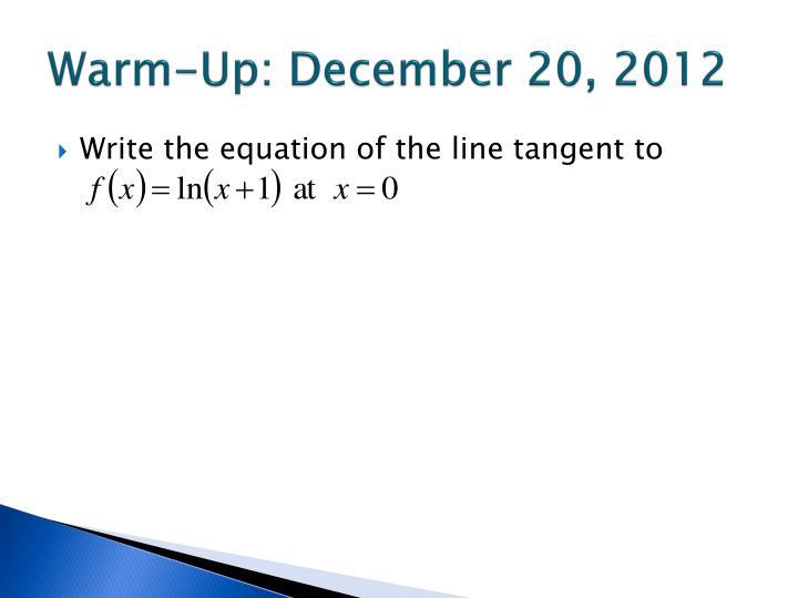 Warm-Up: December 20, 2012