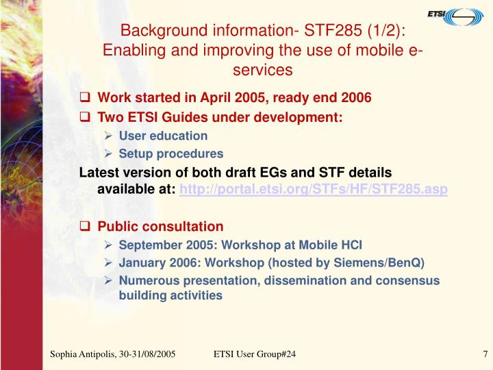 Background information- STF285 (1/2):