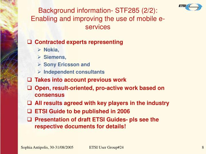 Background information- STF285 (2/2):