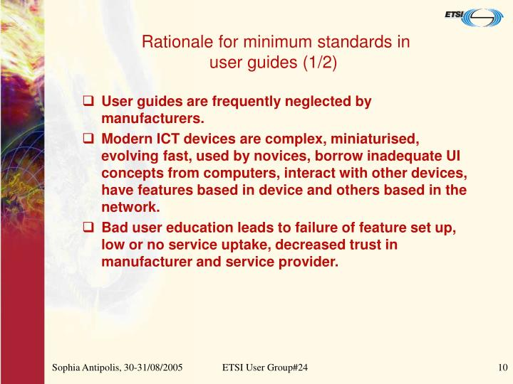 Rationale for minimum standards in