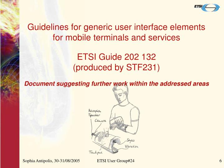 Guidelines for generic user interface elements for mobile terminals and services