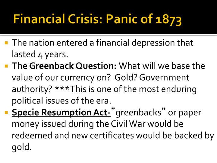 Financial Crisis: Panic of 1873
