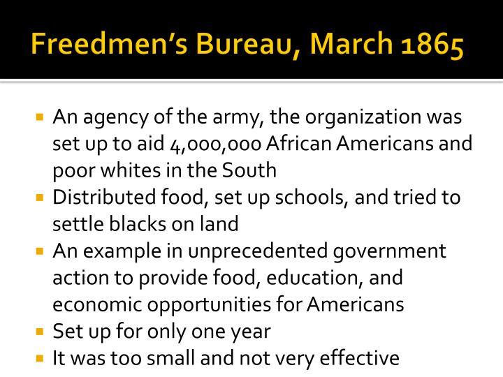 Freedmen's Bureau, March 1865