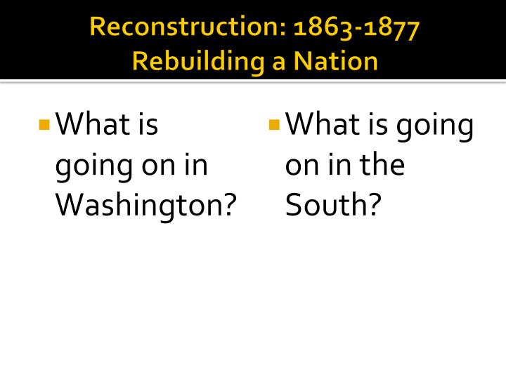 Reconstruction: 1863-1877