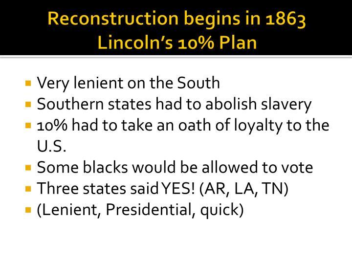 Reconstruction begins in 1863