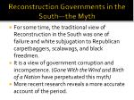 reconstruction governments in the south the myth