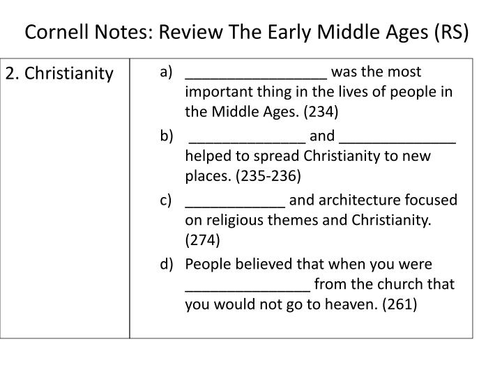 Cornell notes review the early middle ages rs1