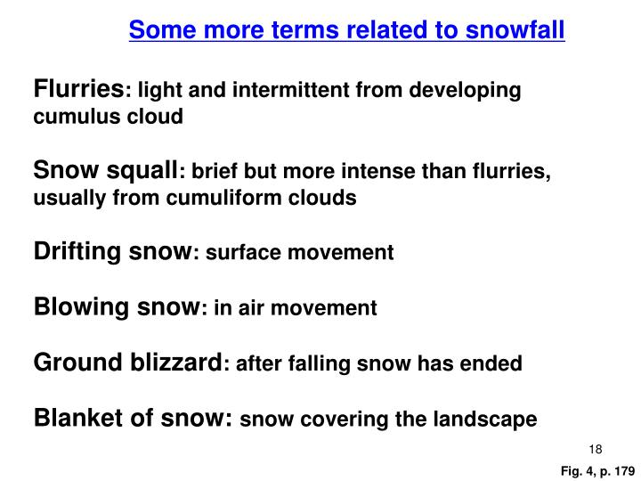 Some more terms related to snowfall