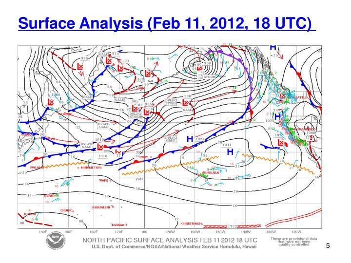 Surface Analysis (Feb 11, 2012, 18 UTC)