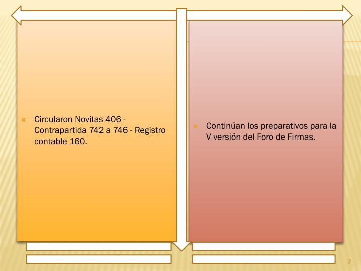 Circularon Novitas 406 - Contrapartida 742 a 746 - Registro contable