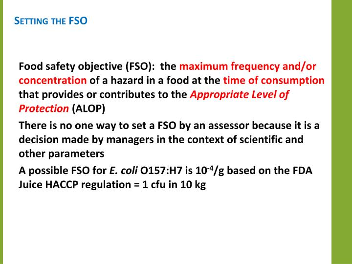 Setting the FSO