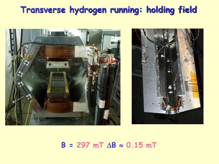 Transverse hydrogen running: holding field