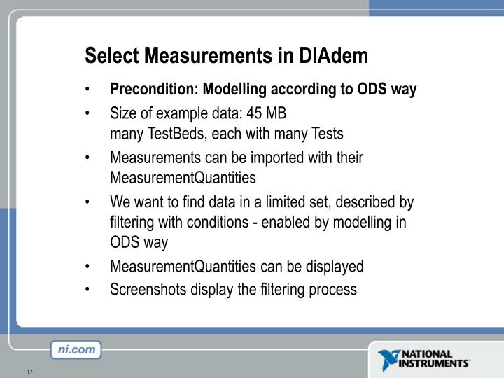 Select Measurements in DIAdem