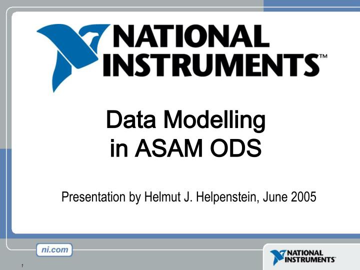 Data Modelling in ASAM ODS