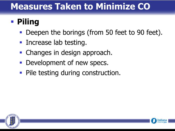 Measures Taken to Minimize CO