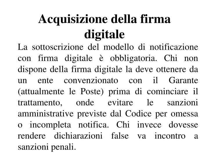 Acquisizione della firma digitale