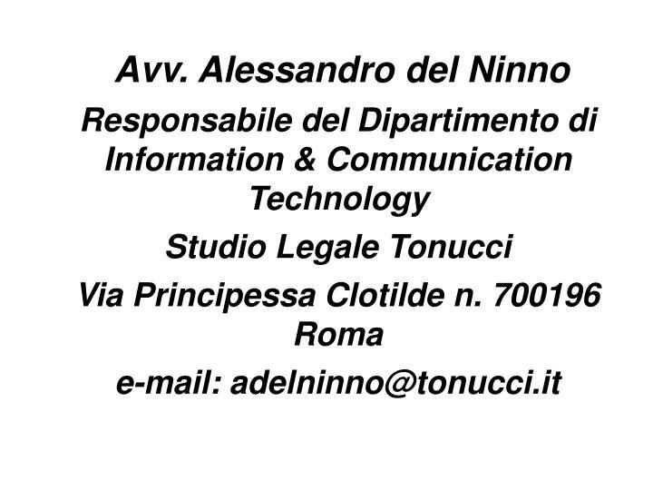 Avv. Alessandro del Ninno