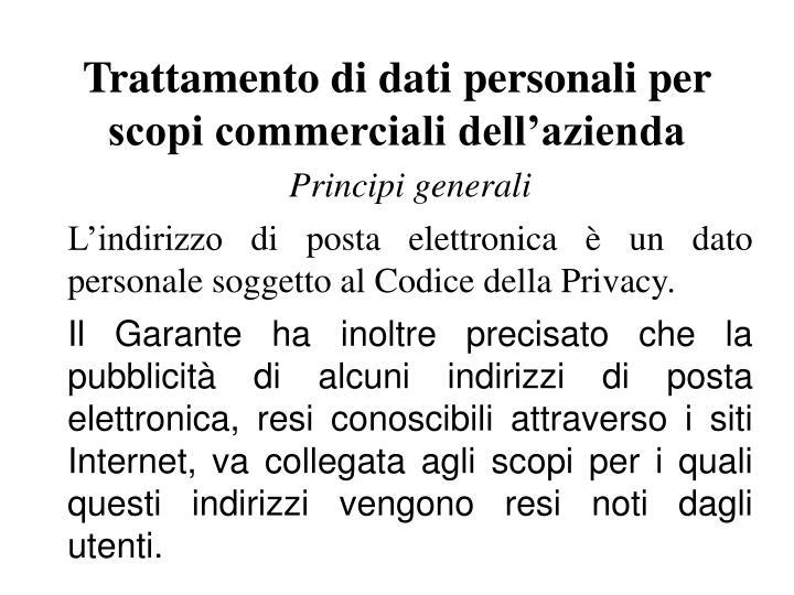 Trattamento di dati personali per scopi commerciali dell'azienda