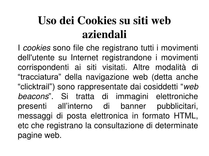 Uso dei Cookies su siti web aziendali