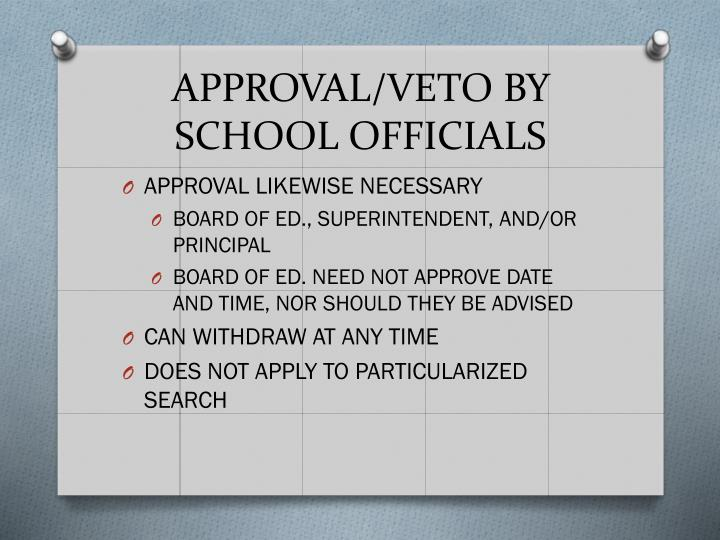 APPROVAL/VETO BY SCHOOL OFFICIALS