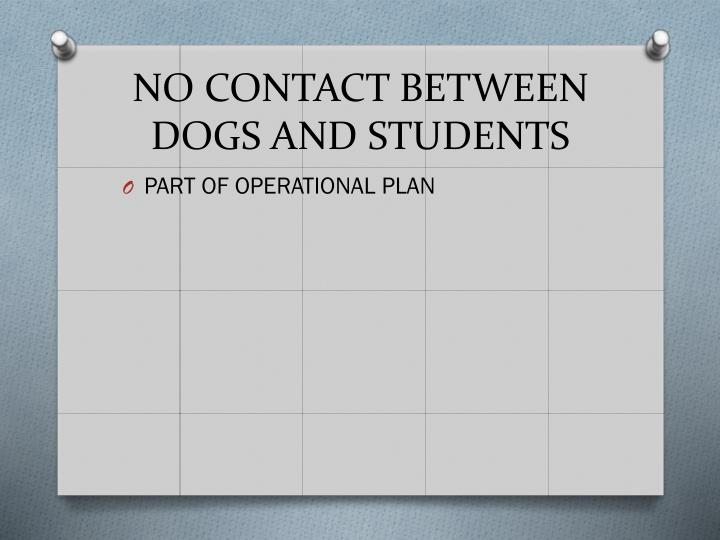 NO CONTACT BETWEEN DOGS AND STUDENTS