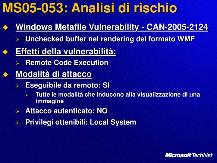 MS05-053: Analisi di rischio