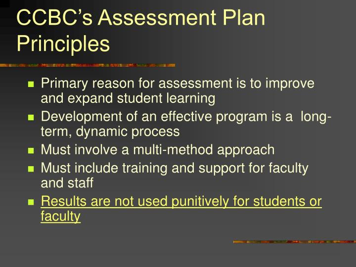 CCBC's Assessment Plan Principles