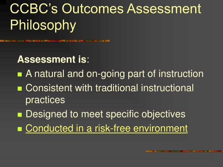 CCBC's Outcomes Assessment