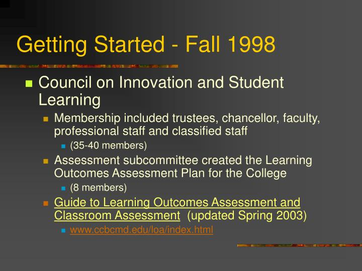 Getting Started - Fall 1998