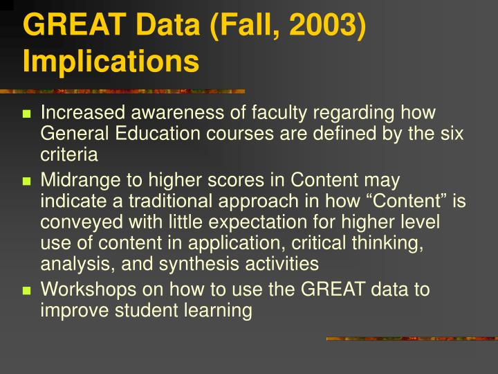 GREAT Data (Fall, 2003) Implications