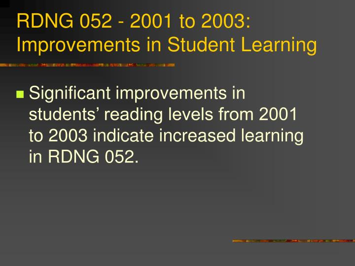 RDNG 052 - 2001 to 2003: Improvements in Student Learning