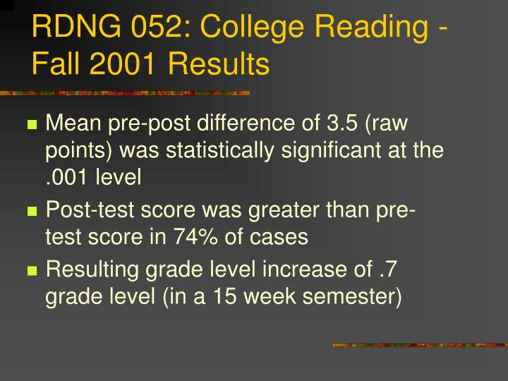 RDNG 052: College Reading -