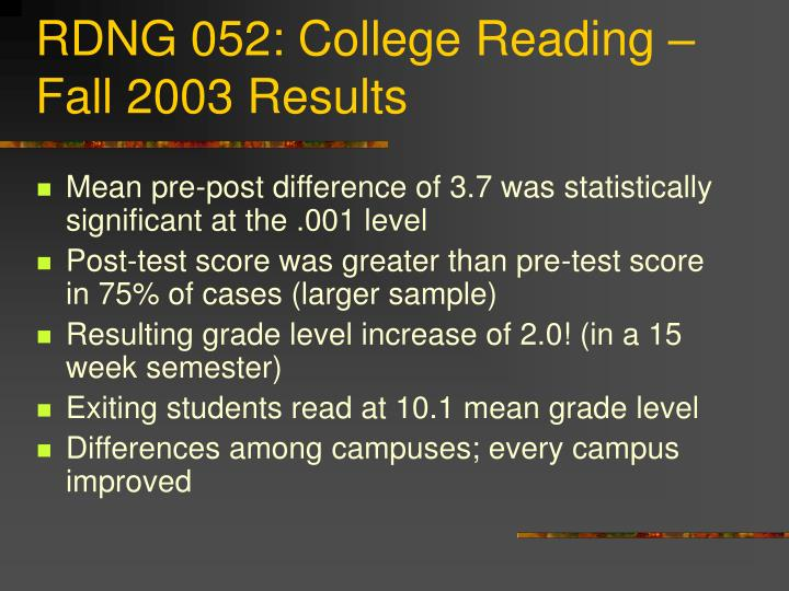 RDNG 052: College Reading – Fall 2003 Results