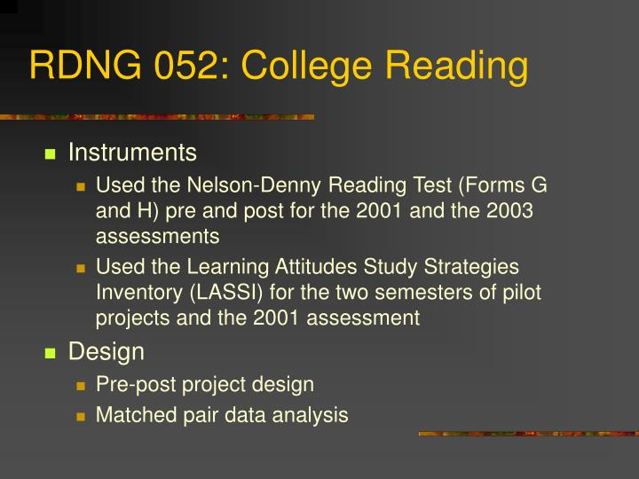RDNG 052: College Reading