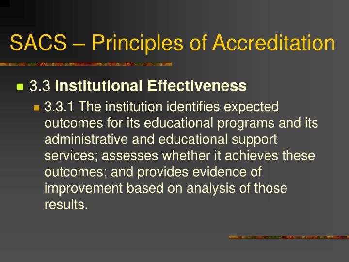 SACS – Principles of Accreditation