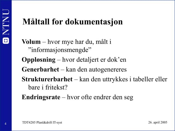 Måltall for dokumentasjon