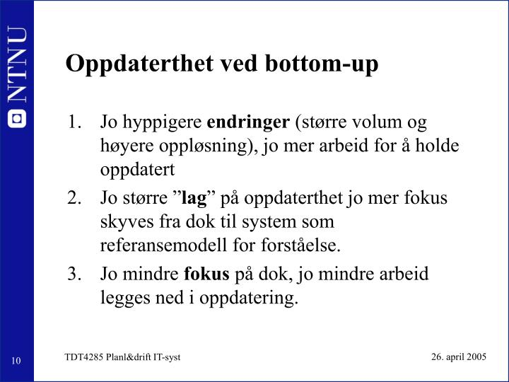 Oppdaterthet ved bottom-up